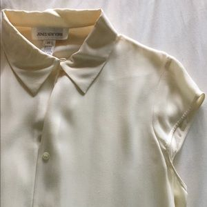 Ivory White Silk Blouse short sleeve button up